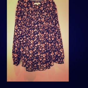Navy + Floral Ann Taylor Loft Swing blouse